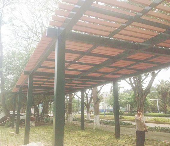 柳州景区停车场木塑廊架