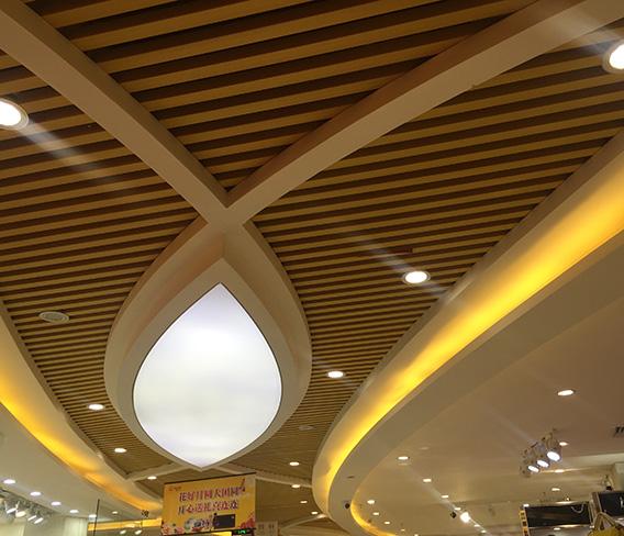 深圳百易广场生态木吊顶格栅