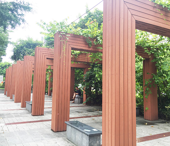 深圳上河坊休闲空间塑木造型