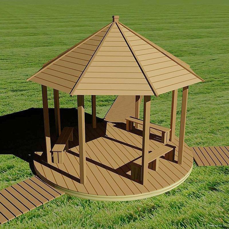 公园景区塑木凉亭