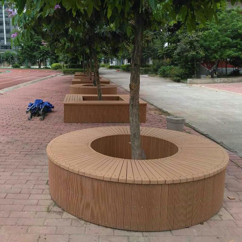 公园景区塑木树围椅圆形