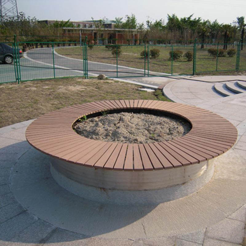 校园塑木树围椅圆形