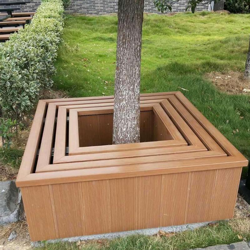景区塑木树围椅矩形