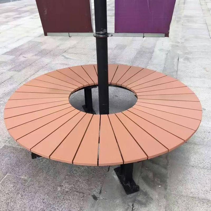 景区塑木树围椅扇形